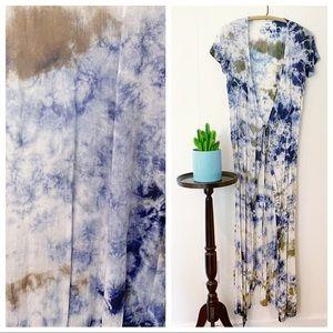 Aakaa Tie Dye Maxi Wrap Dress, Duster, Coverup